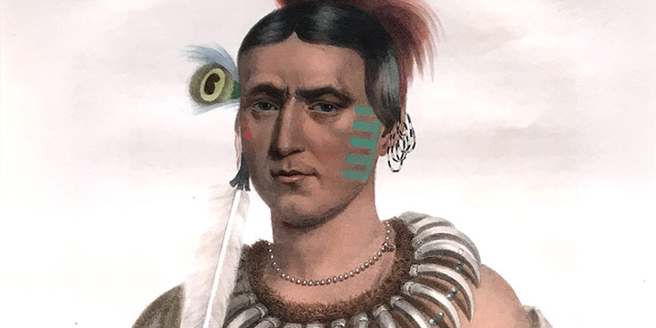 Charles Bird King, Ma-Has-Kah, White Cloud an Ioway Chief, handcolored lithograph, 1839