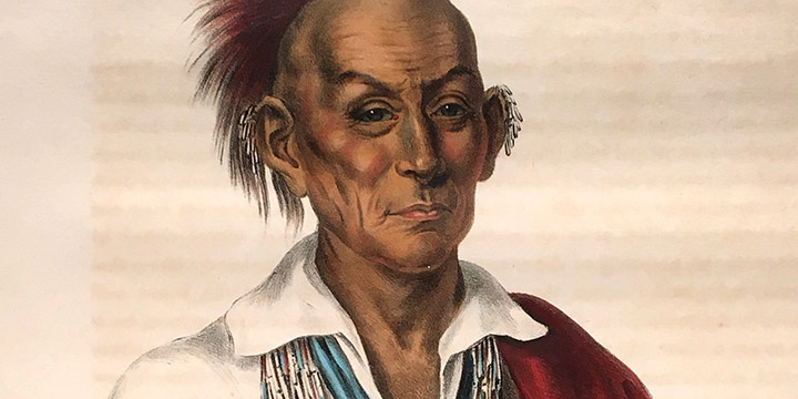 Charles Bird King, Ma Ka Tai Ma Shekia Kiah, Black  Hawk, a Saukie Brave, handcolored lithograph, 1838