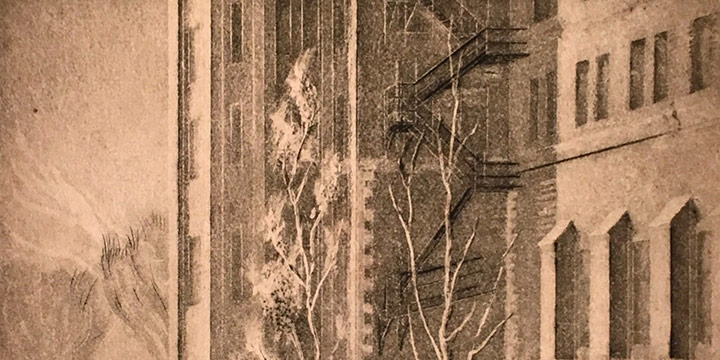 Dwight Kirsch, Conkling Hall – U of N Medical College, Omaha, etching (5/?), 1945