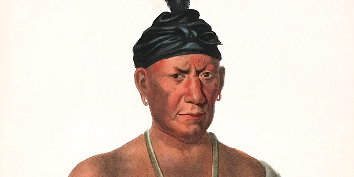 Charles Bird King, Wakechai, a Saukie Chief, handcolored lithograph (octavo), 1865-1870