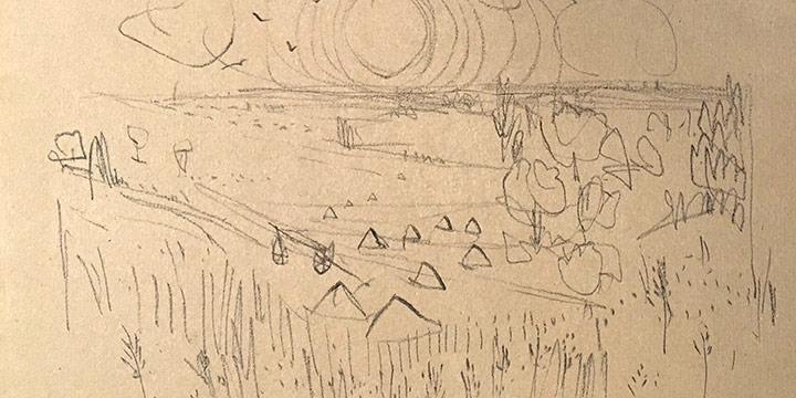 Keith Martin, Landscape with Wheat Fields, crayon on paper, 1947
