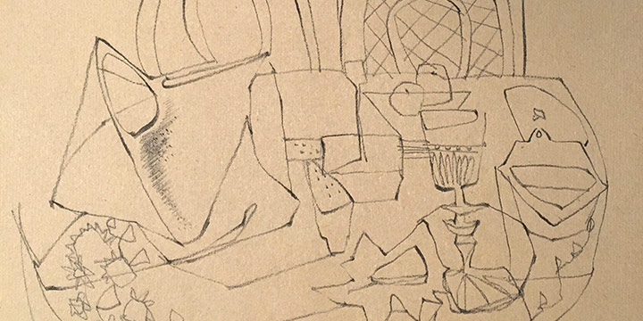 Keith Martin, Still Life with Water Jug, crayon on paper, 1947