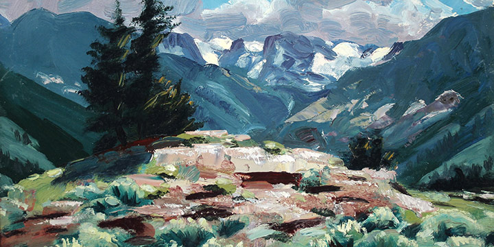 Eugene Kingman, Untitled (mountain scene), oil on board, n.d., 12 × 16""