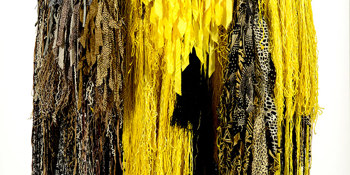 Robert Hillestad, Meadowlark in Fiber, silk & synthetic yarns,  silk fabric streamers; hand knit, 2007, 52 × 48 × 6""
