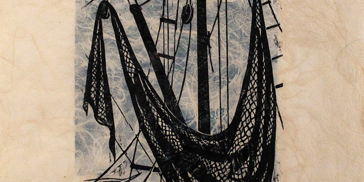Manfred Keiler, Untitled (boats & nets), wood block on rice paper(4/30), n.d.