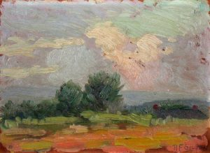 Robert F. Gilder, Stormy Landscape, 30th and Bancroft, oil on canvas over board, 1919