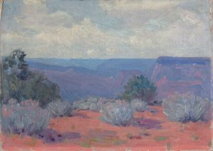 Robert F. Gilder, Green Sage and Purple Bluffs, oil on board, n.d.
