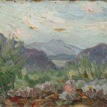 Robert F. Gilder, Mountains, oil on board, n.d.