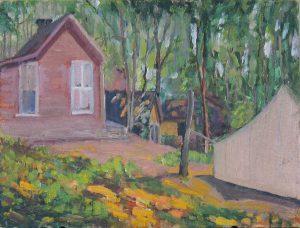 Robert F. Gilder, Cabin in the Trees (Wake Robin - Gilder's Home), oil, n.d.