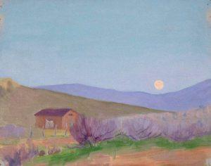 Robert F. Gilder, Moon Over House, oil on board, n.d.