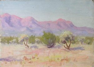 Robert F. Gilder, Purple Mountains and Sage, oil on board, n.d.