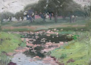 Robert F. Gilder, House and Stream, oil on board, n.d.