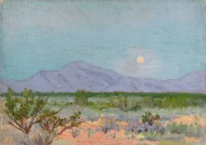 Robert F. Gilder, Moon Over the Desert, oil on board, n.d.