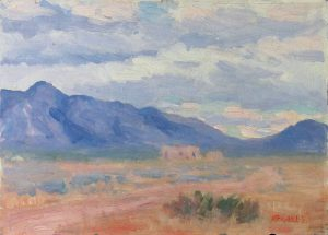 Robert F. Gilder, House Ruins and Purple Hills, oil on board, n.d.