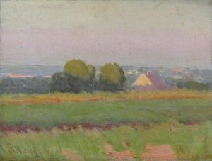 Robert F. Gilder, Distant Rooftops, oil on canvas, 1904