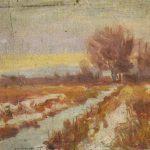 Robert F. Gilder, Untitled (orange marsh scene), oil on canvasboard, n.d.