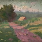 Robert F. Gilder, Untitled (pink path), oil on canvasboard, n.d.