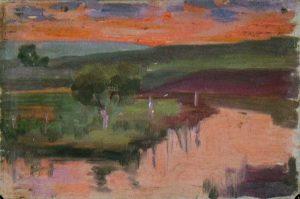 Robert F. Gilder, Untitled (reflected orange sky), oil on canvasboard, n.d.