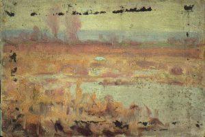 Robert F. Gilder, Untitled (pale marsh), oil on canvasboard, n.d.