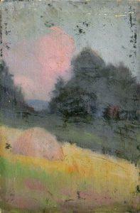 Robert F. Gilder, Untitled (blue grey trees), oil on canvasboard, n.d.