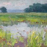 Robert F. Gilder, Untitled (yellow, blue green summer marsh scene), oil, n.d.