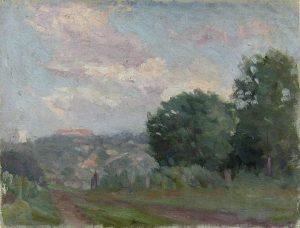 Robert F. Gilder, Road with Buildings, oil, n.d.