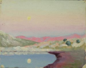 Robert F. Gilder, Lake with Moon, oil, n.d.