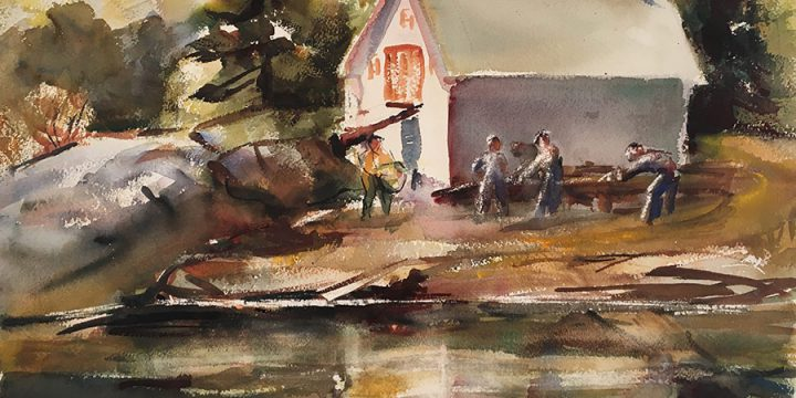Dorothy Van Houten Harrison, Busy Morning near South Booth Bay, Maine, watercolor, n.d.