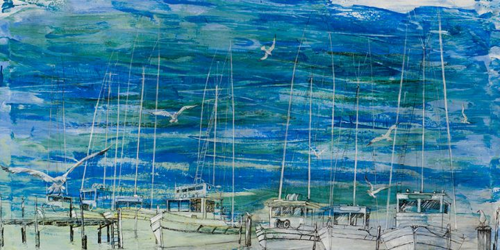 Shirley Martin, Boats and Gulls, acrylic, ink, n.d.
