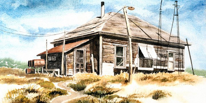 Maxine Yost, Old Ranch Home, watercolor, c. 1978
