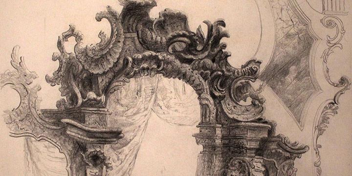 Terence R. Duren, Struck detail ares Ottobeuren, pencil, 1936