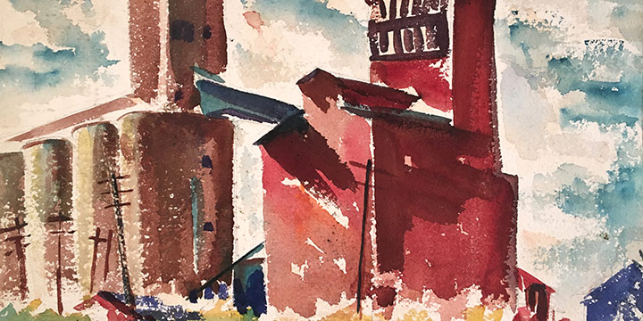 Herschel Elarth, Nebraska Grain Elevators, watercolor, 1932