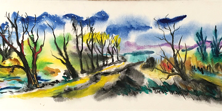 Alta M. Fieselman, Woods, watercolor, n.d.