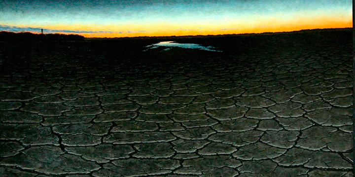 Dan Bruggeman, Diorama: Drought, oil on panel, 1996