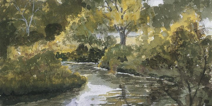 Miriam Worlock, Untitled (landscape), watercolor, n.d.