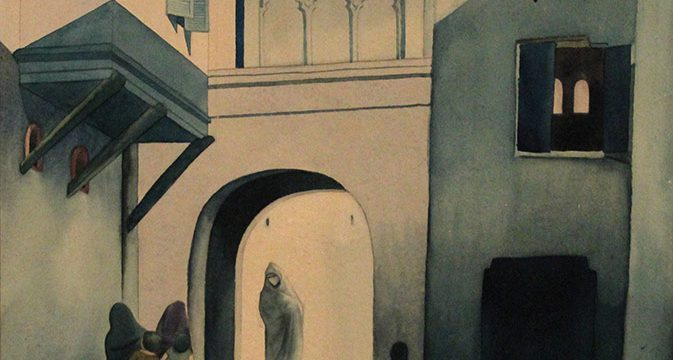 Terrence Duren, Untitled (Mid-East scene), watercolor, 1935