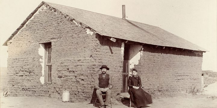 Solomon D. Butcher, Southwest Custer County, Nebraska 1892 (young couple), black & white photograph c. 1892