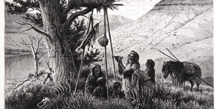 William de la Montagne Cary, Indians Offering Gifts to the Dead, wood engraving, published in Harpers Weekly, June 20, 1874