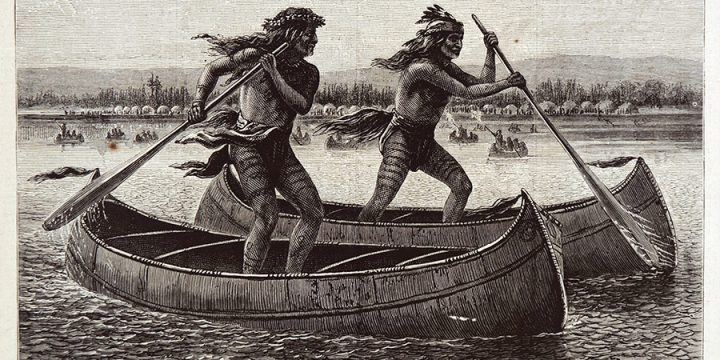 William de la Montagne Cary, Indian Canoe Race, wood engraving, published in Harper's Weekly, June 20, 1874