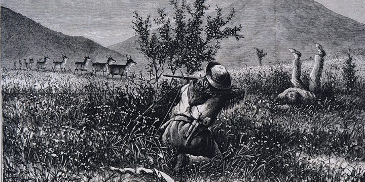 William de la Montagne Cary, Antelope Hunting in the West, wood engraving, published in Harper's Weekly, May 23, 1874
