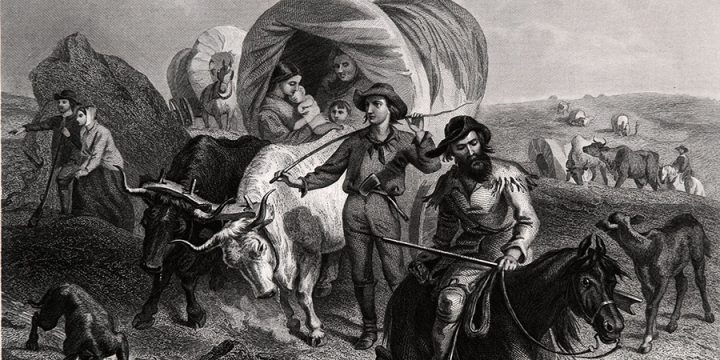 Felix Octavious Carr Darley, Emigrants Crossing the Plains, steel engraving, published in Picturesque America, Vol. 1, 1872
