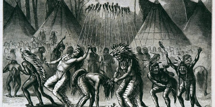 William de la Montagne Cary, A Scalp Dance, wood engraving, published in Harper's Weekly, September 19, 1874