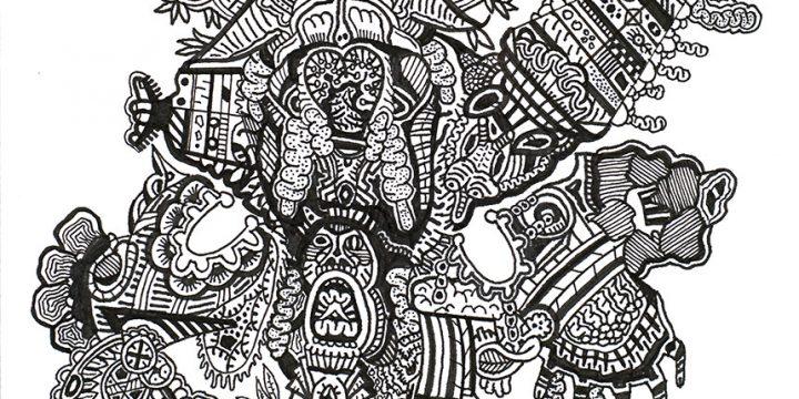Charles Wetzel, Buffalo Grass, ink, c. 2010