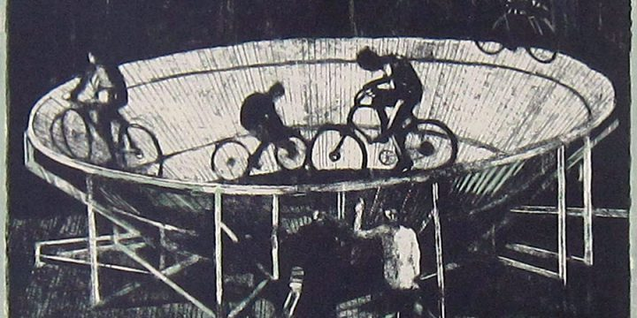 Byron Burford, A Novel Bicycle Race, lithograph (15/20), 1978