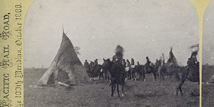 John Carbutt, Camp of Pawnee Indians on the Platte Valley, stereoview, 1866