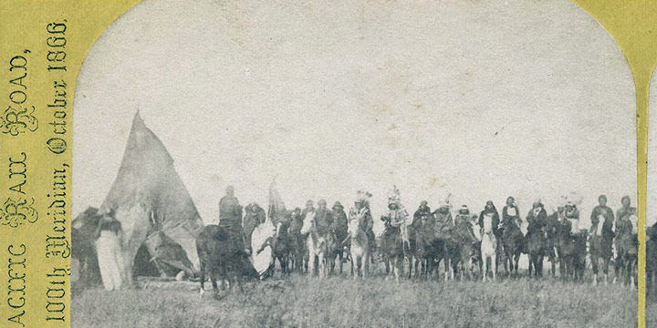 John Carbutt, Group of Mounted Pawnee Warriors, stereoview, 1866