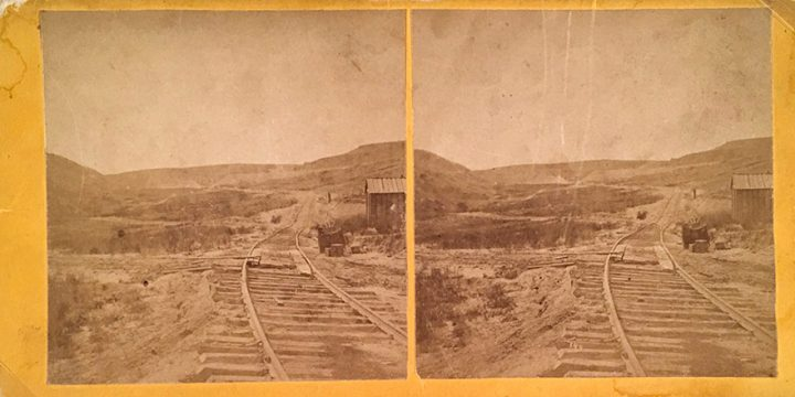 """William Henry Jackson, Scenery of the Union Pacific Railroad - No. 144 The Old """"Z"""", stereoview, 1868-1869"""