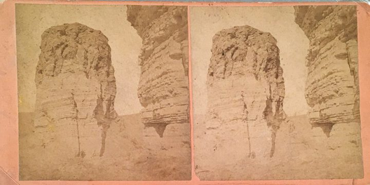 William Henry Jackson, Scenery of the Union Pacific Railroad - No. 178 Giant's Club near Green River, stereoview, 1868-1869