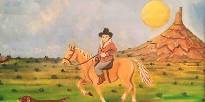 Andrea Badami, Untitled (man on horse at Chimney Rock), oil on canvas, n.d.