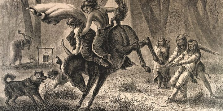 William de la Montagne Cary, Indian Boys Breaking a Pony, wood engraving, published in Harper's Weekly, May 2, 1874